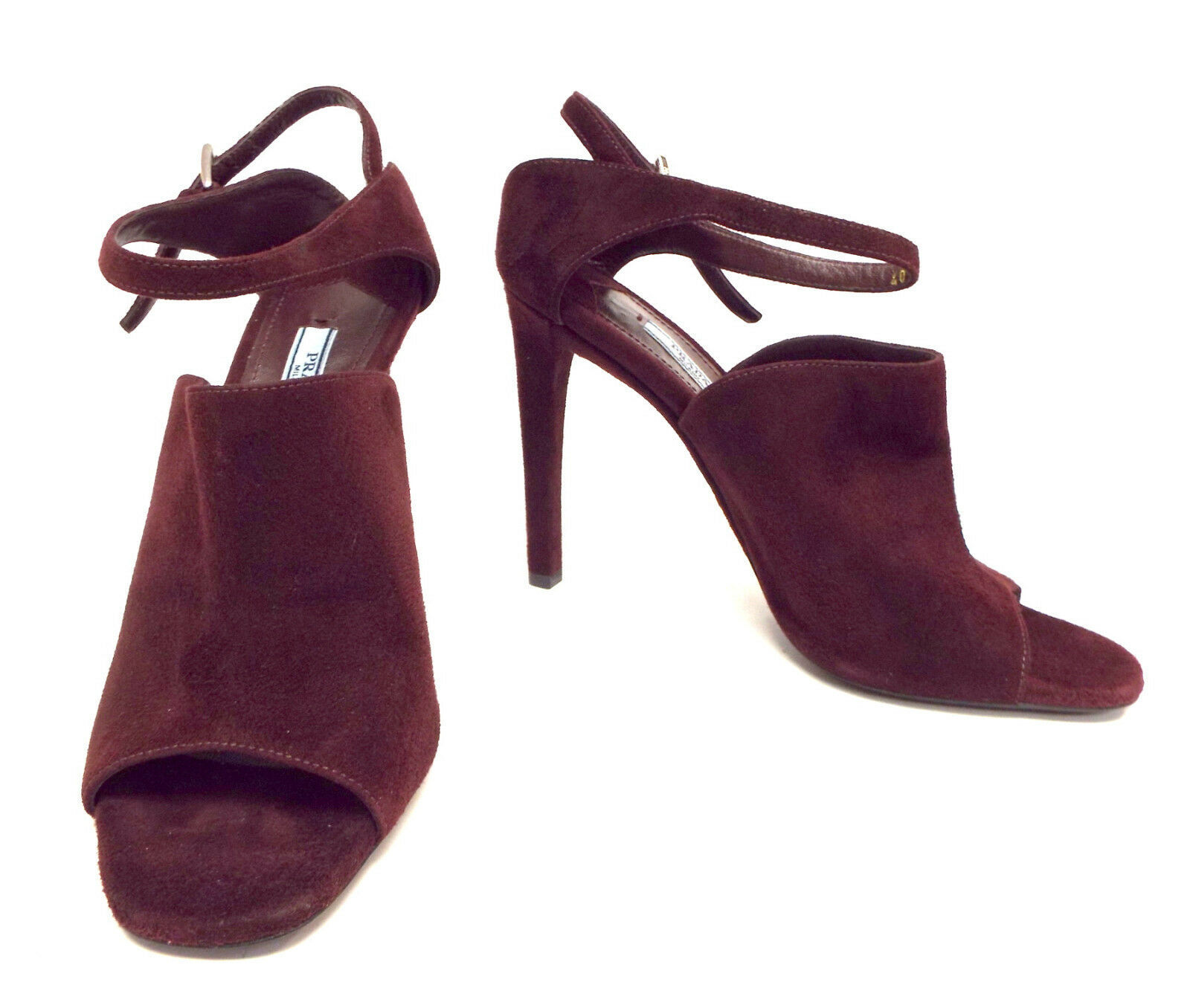 New PRADA Size 9 Burgundy Suede Open Toe Ankle Strap Heels Sandals Shoes 40 image 3