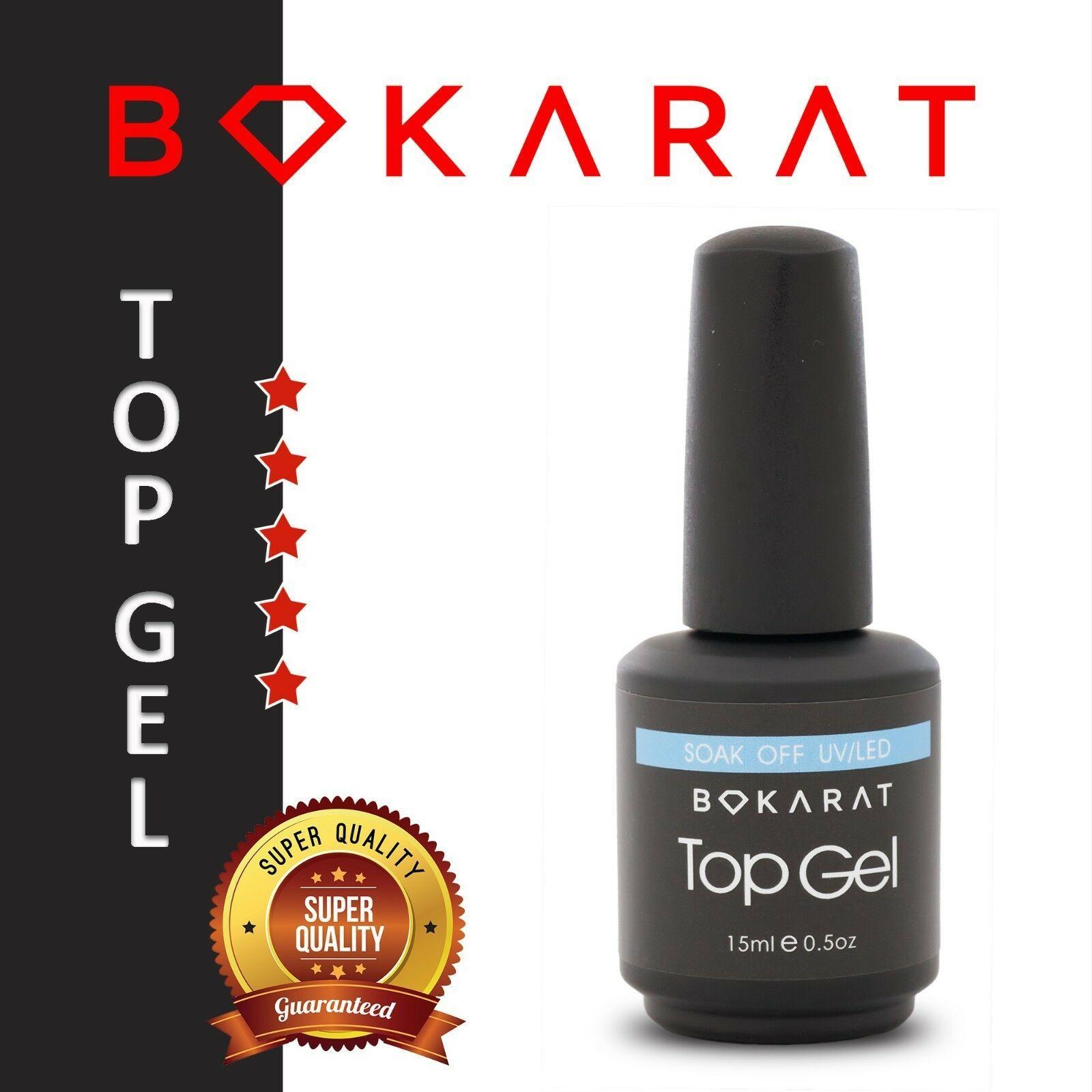 Bokarat No Wipe Top Coat Gel Nail Polish Soak Off for UV / LED Lamp, Thick, 15ml