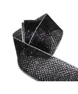 "10 Yards Halloween Black Glitter Mesh Semi Sheer Wired Ribbon 2 1/2""W Fl... - $29.59"