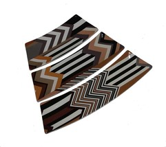 Missoni Target Brown Tan Black Chevron Stripe 3 Pc Puzzle Platter Tray N... - $59.99