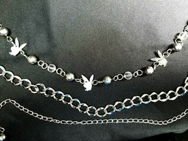 Playboy Bunny Chain Link Belt. Beaded, Bunnies & Glitz. Great Retro Piece! - $61.67