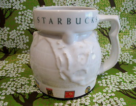 STARBUCKS Coffee Mug Cup Souvenir Collectible WHITE WORLD GLOBE STAMPS - $19.95