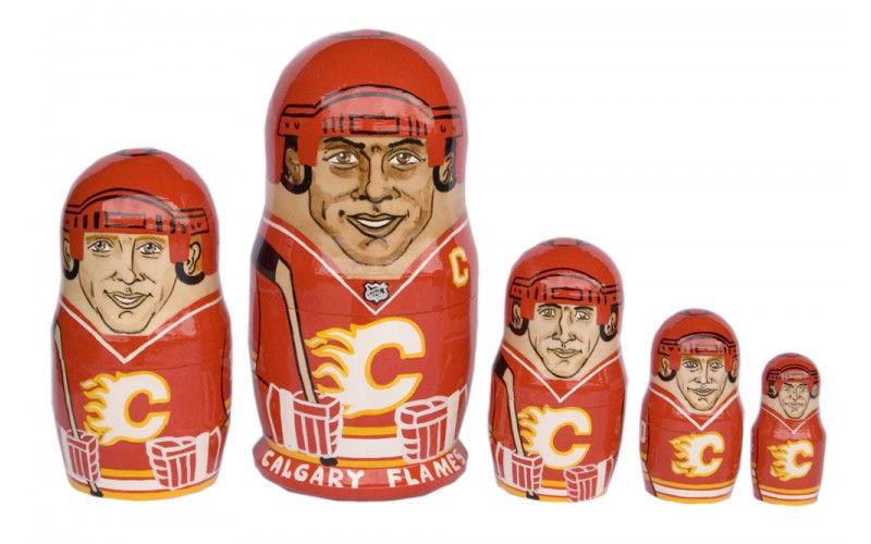 "Calgary Flames nesting doll matryoshka doll babushka doll 5 pc, 6"""