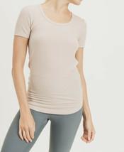 New Mono B Short Sleeve Top T-Shirt Small Ribbed Curved Hem Scoop Neckli... - $17.33