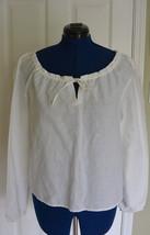 Eddie Bauer Peasant Top Blouse L White Linen Cotton Drawstring NWT - $29.95