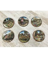 Vintage Hand-Painted Glass Wooden Coasters 6 Piece Set Cusco Peru Merino G. - $28.04