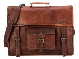 New Satchel Briefcase Vintage Crafts Leather Messenger Men's Women's Lap... - $57.41