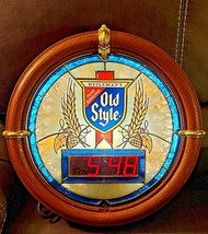 HEILEMAN'S OLD STYLE BEER CLOCK LIGHTED W NEW BULB 100% WORKING VG CONDI... - $98.99