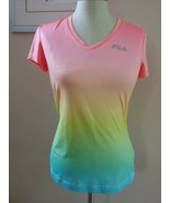 Women FILA pastel rainbow athletic t shirt top v-neck S Small pink green... - $12.86