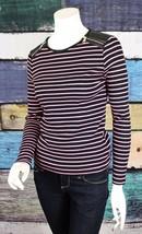 Ralph Lauren Medium M Pink Black Striped Cotton Rib Knit Faux Leather To... - $29.69