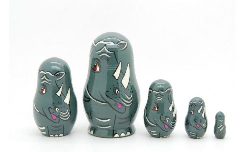 """Matryoshka nesting doll Rhinoceros family 5 pc, babushka doll, 3.6"""""""