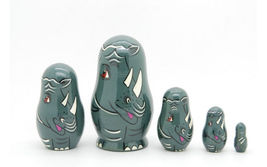 "Matryoshka nesting doll Rhinoceros family 5 pc, babushka doll, 3.6"" - $34.90"