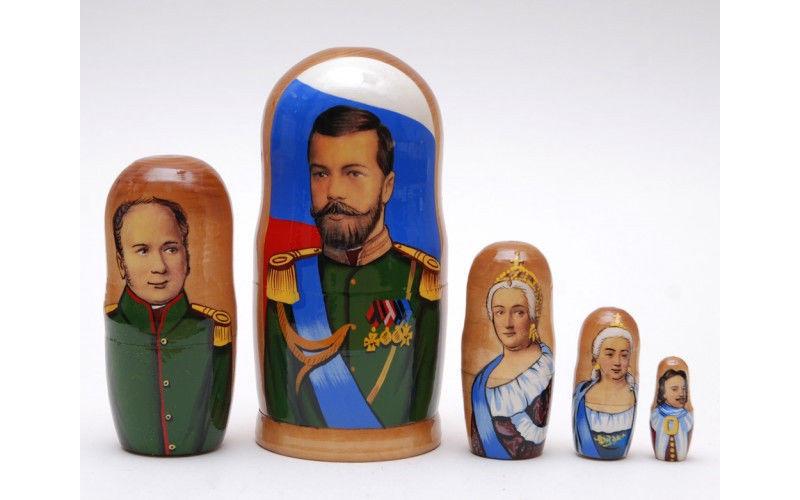 "Matryoshka nesting doll Tsars Russian kings 5pc, babushka, 6.8"""