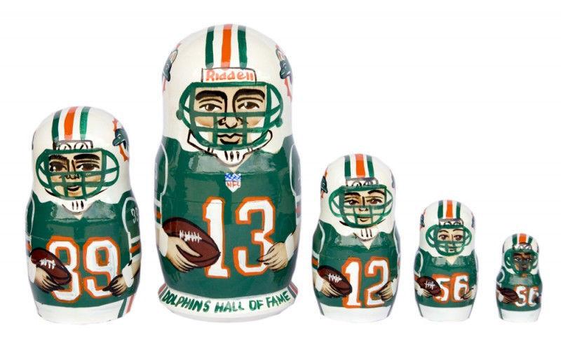 "Miami Dolphins nesting doll matryoshka doll, babushka 5 pc, 6"""