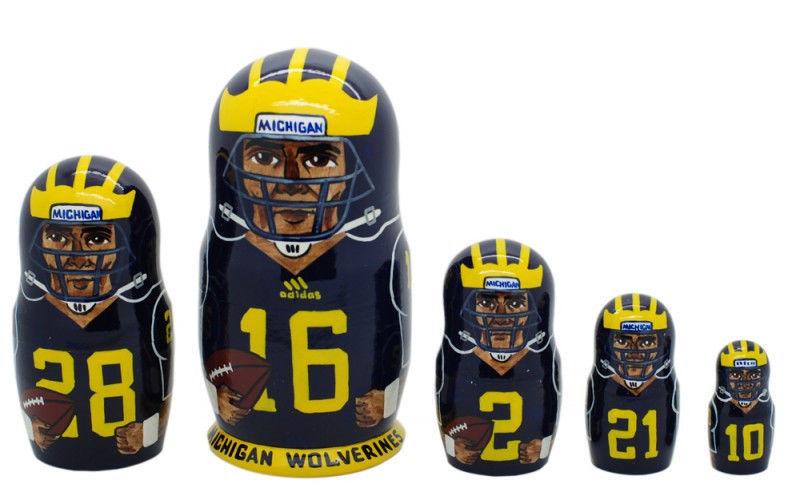"""Michigan Wolverines nesting doll matryoshka doll, babushka 5 pc, 6"""""""