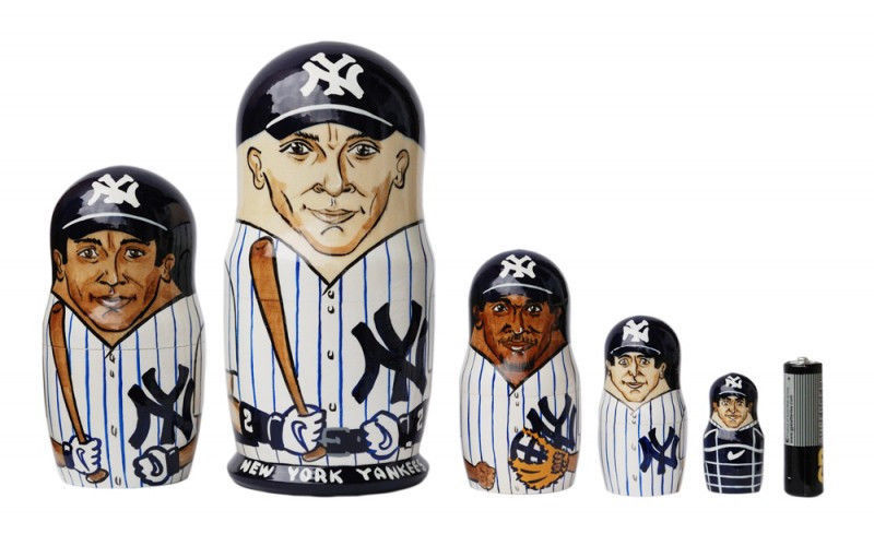 NY yankees nesting doll matryoshka doll, babushka 5 pc, 6""