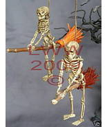 2 Samhain Skeleton Riding Brooms/ Besoms Ornaments - $7.99