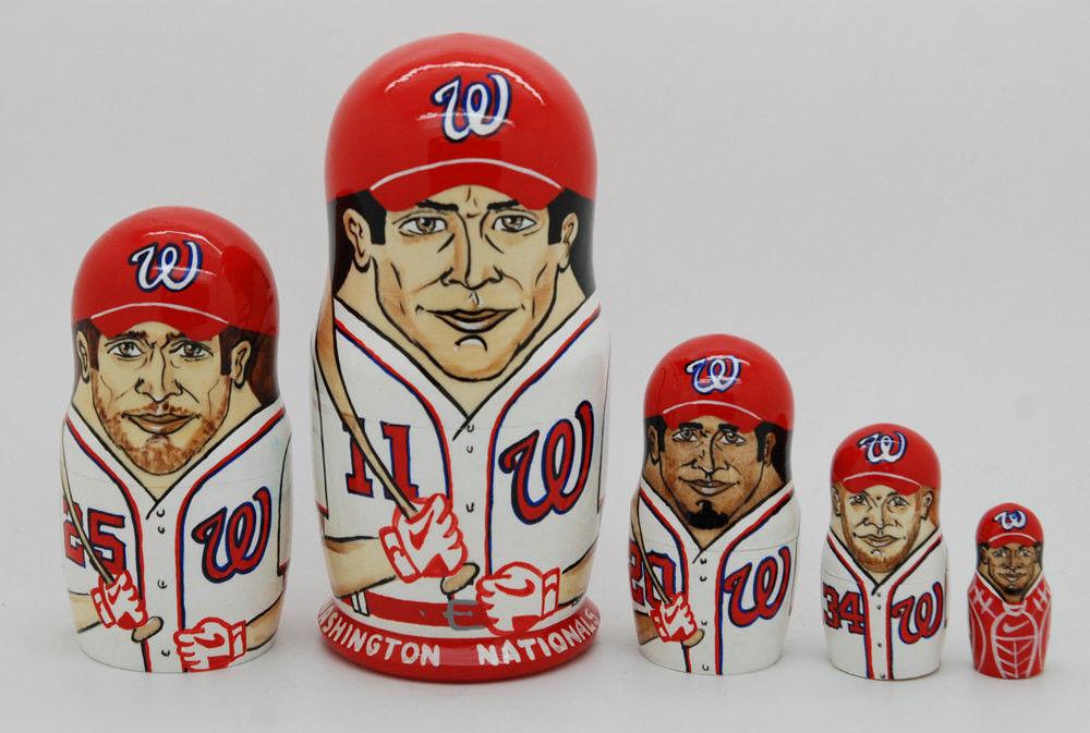 """Washington Nationals  nesting doll matryoshka doll babushka doll 5 pc, 6"""""""