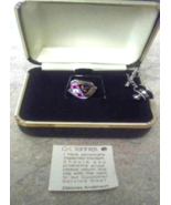 Vintage O.C Tanner Mens Pin With Jewels Red & Clear Jewels Pin Red & Cle... - $29.99