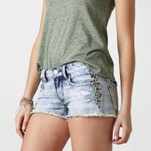 American Eagle Outfitters AEO Acid Wash Distressed Stud Denim Jean Short... - $24.99