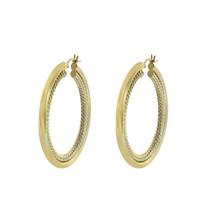 14K Yellow Gold Twisting Rope Design Hoop Earrings - $474.21