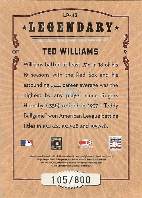 2005 donruss boston red soxs ted williams serial # 105/800