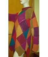 Colorblock Knit Sweater Multicolored Sz M Peter Pan Pointed Bottom Color... - $58.41