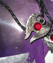 Goth Wings necklace sacred talisman red stone   - $6.50