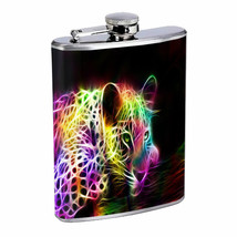 Neon Rainbow Cheetah Em1 Flask 8oz Stainless Steel Hip Drinking Whiskey - $13.81