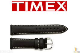 TIMEX Q7B858 Original 20mm Dark Brown Calfskin Leather Watch Band Strap w/ 2Pins - $16.96