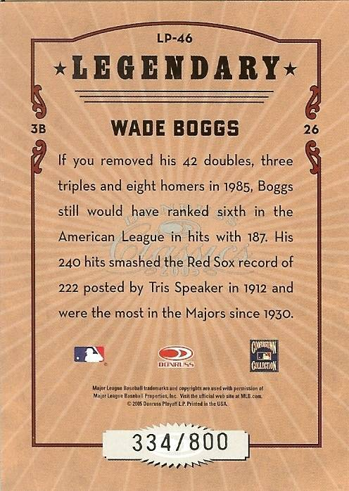 2005 donruss boston red soxs wade boggs serial # 334/800