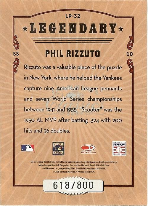 2005 donruss new york yankees phil rizzuto serial # 618/800