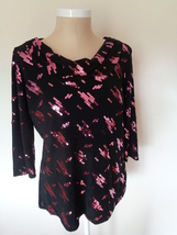 Notations Woman Black Top with Pink Sequin Cowl Neck Blouse Size 14/16 - $17.99
