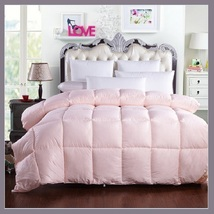King Size Pale Pink Jacquard Weave Silk Quilted White Duck Down Duvet Comforter