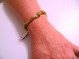 "Macys 6.25"" Sterling Silver Semi-Precious Olive Jade Stone Stretch Brace... - $15.35"