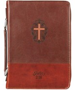 Bible Cover Brand NEW John 3:16 Two-Toned Brown Medium 9 5/8 x 6 5/8 x 1... - $26.53