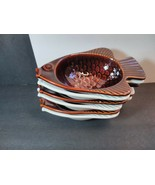 McCoy Fish Seafood Soup Chowder Bowls Oven Proof USA Pottery Brown White... - $58.41