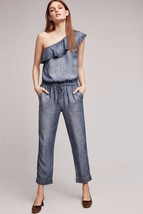 NWT ANTHROPOLOGIE MIAMI ONE-SHOULDER DENIM JUMPSUIT by CLOTH & STONE M - $99.99