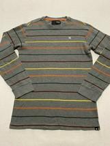 Hurley Boys XL Gray Yellow Orange Stripe Thermal Shirt Waffle Weave - $10.99