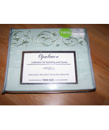 Twin Size Embroidery Microfiber 3 Piece Sheet Set Sheets Opulence Light ... - $30.00