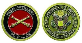 ARMY FORT SILL FIELD ARTILLERY INVINCIBLE IN WAR CHALLENGE COIN  - $18.04