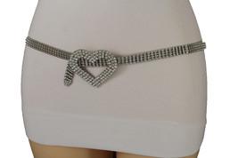 Women Dressy Fashion Classic Belt Hip Waist Silver Metal Chain Heart Buckle S M - $29.39