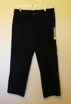 George Slacks 38x30 Actual W 40 Black Pleated Classic Fit Cotton Polyester NEW - $19.24