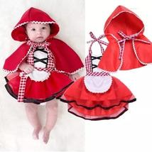 Christmas baby girl tulle red hood cape cloak+dress - $12.56