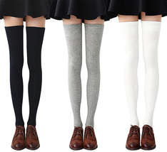 Womens Thigh High Socks Cotton Striped Over the Knee Socks Long Knee Hig... - $28.77