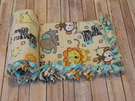 Muttnick Neal Calypso Baby Safari Animals No-Sew Anti-Pill Fleece Blanke... - $33.00