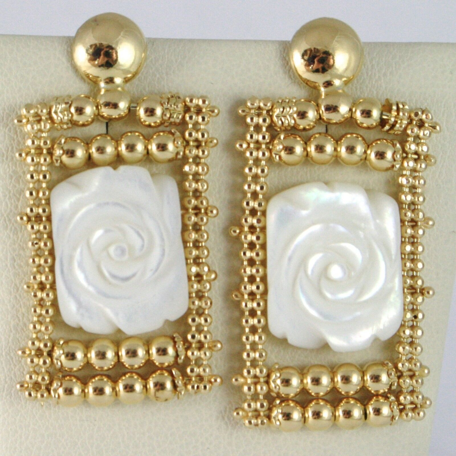 Silver Earrings 925 Yellow Gold Plated Hanging, Multi Wires, Nacre Flower