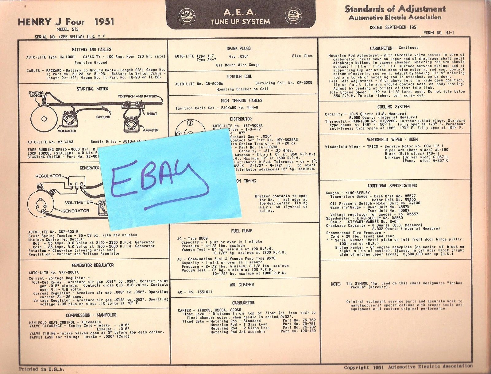 1951 aea henry j four tuneup chart wiring and 50 similar items rh bonanza com Light Switch Wiring Diagram Residential Electrical Wiring Diagrams