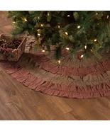 "Burgundy checks evergreen plaid ruffles Christmas Tree Skirt 48"" Rustic  - $44.95"