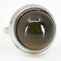 Classic Simple Silver Tone Round Cabochon Color Changing Adjustable Mood Ring